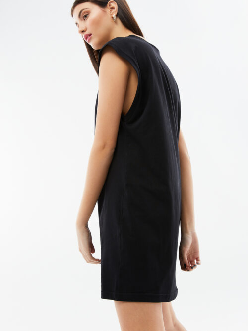 BLAMEYOURDAZE SLEEVELESS MINI COTTON BLACK DRESS