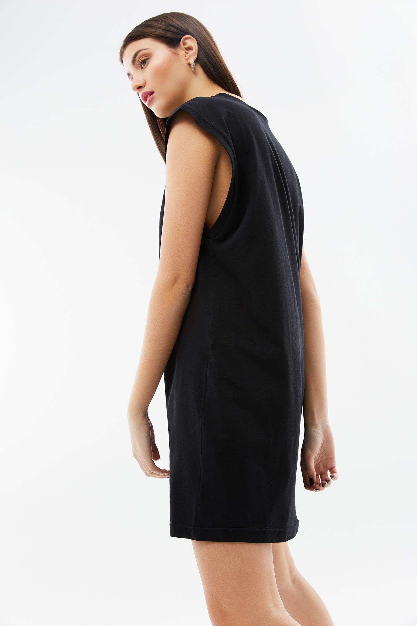 BLAMEYOURDAZE SLEEVELESS MINI COTTON BLACK DRESS