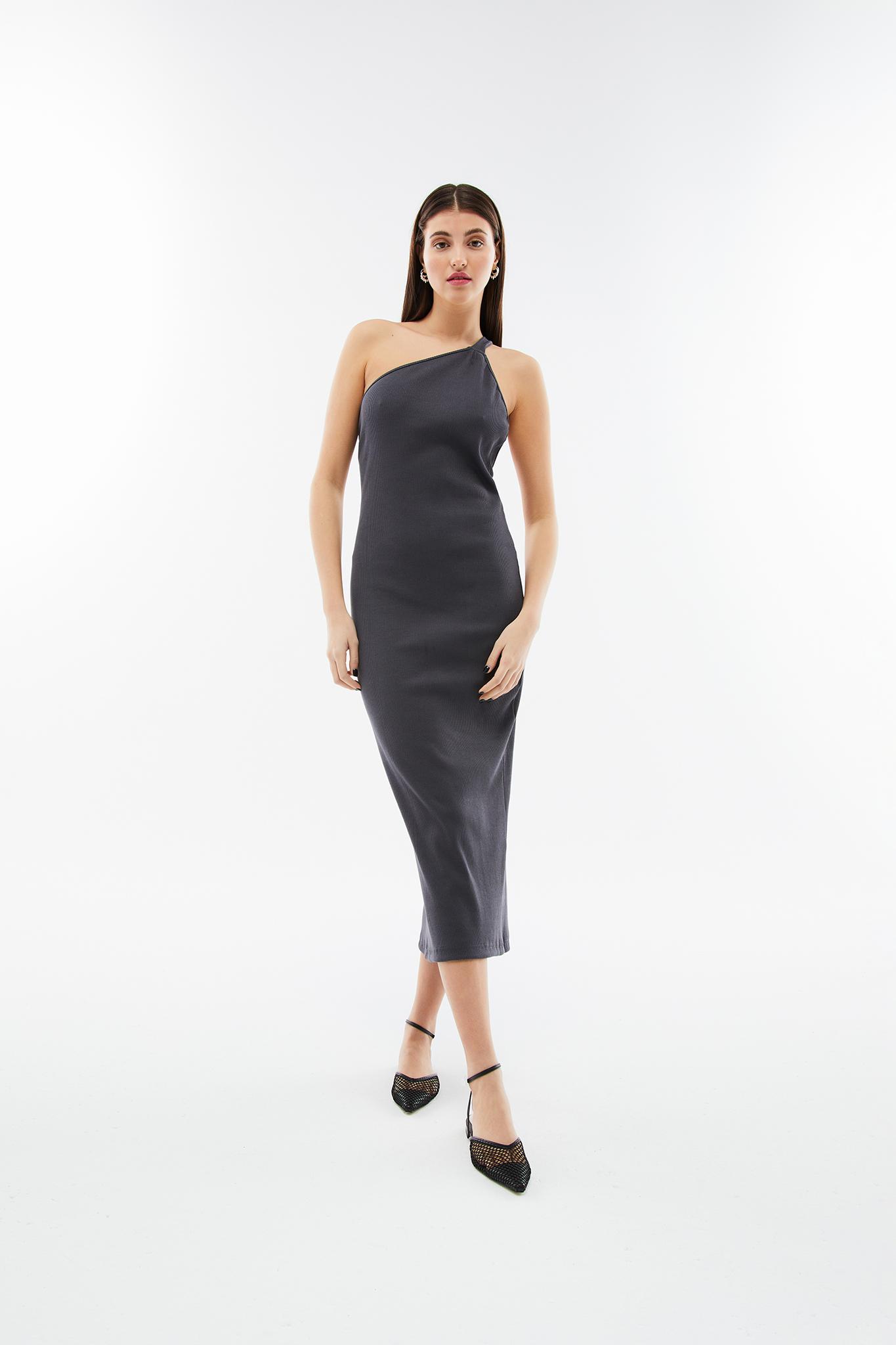 Blameyourdaze grey rib dress