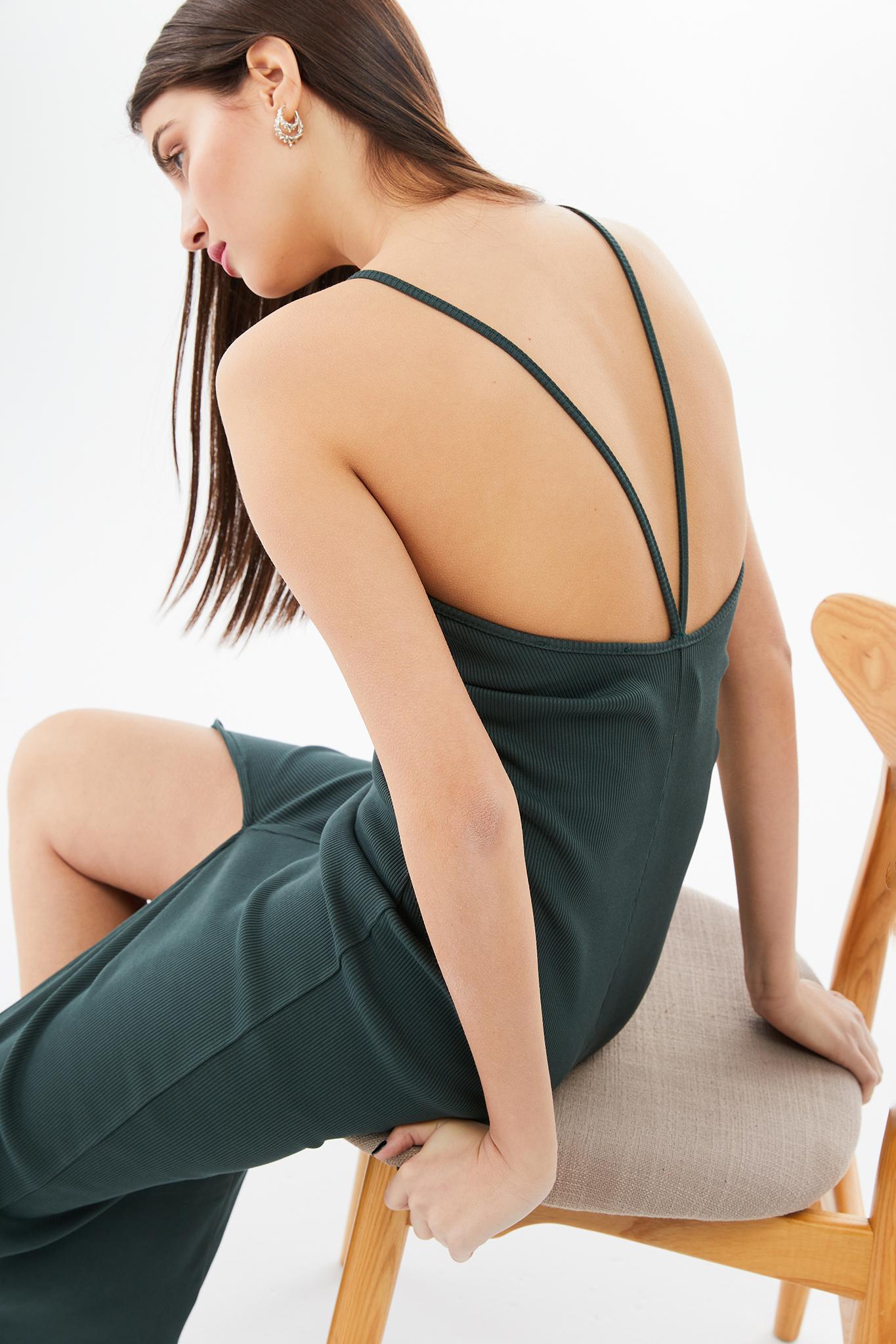 BLAMEYOURDAZE rib dress with spaghetti straps