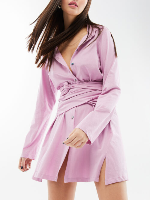 Blameyourdaze cotton dusty pink shirt dress